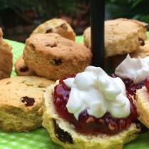 Raspberry jam scones with crème fraiche